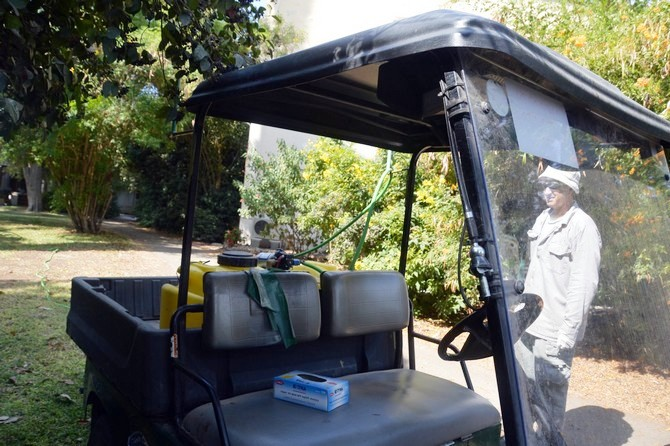 הדברת חיפושית חידקונית הדקל ע``י עובדי הנוי